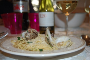 clams and wine