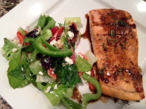 Salmon recipe by Everyday with Rachel Ray.  Salad recipe by Brimar Publishing.  Photo by Priscillakittycat.
